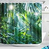 LB Grün Wald Duschvorhang 180x180CM Tropischer Dschungel Duschvorhänge mit Haken,Bananen Blätter Palme Pflanze Bad Vorhang Polyester Wasserdicht Anti Schimmel Badezimmer Gardinen