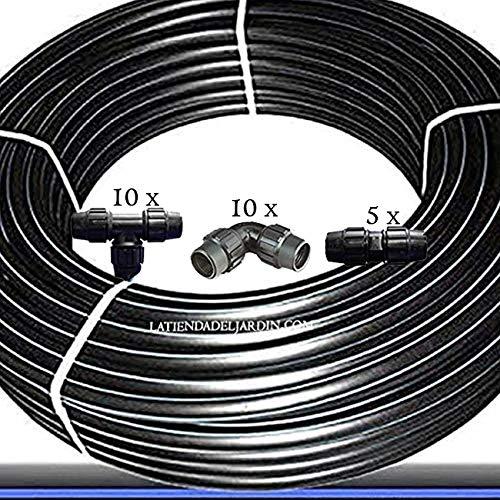 Suinga PACK TUBERIA 20MM Polietileno ALIMENTARIA PE100 alta densidad. Presión 10 BAR 100 METROS. Incluye 10 codos, 10 tes y 5 enlaces de polietileno. Certificado AENOR apta uso agua potable