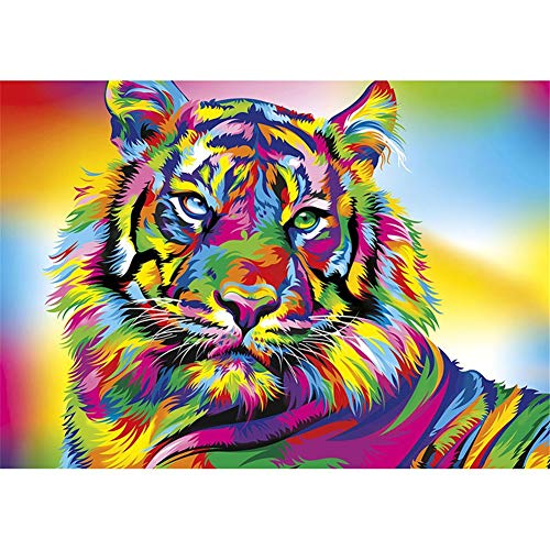 DIY Kit Pintura de Diamante 5D Tigre colorido Crystal Diamantes de Imitación Full Drill Diamond Painting Adulto Niño Pegar Puzzle Punto de Cruz Bordado Casa Salón Pared Decor 60x90cm G5517