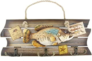 12-inch Wood Decorative Trout Fish Welcome Sign Hanging Plaque with 3 Hooks,for Garden and Wall Decor