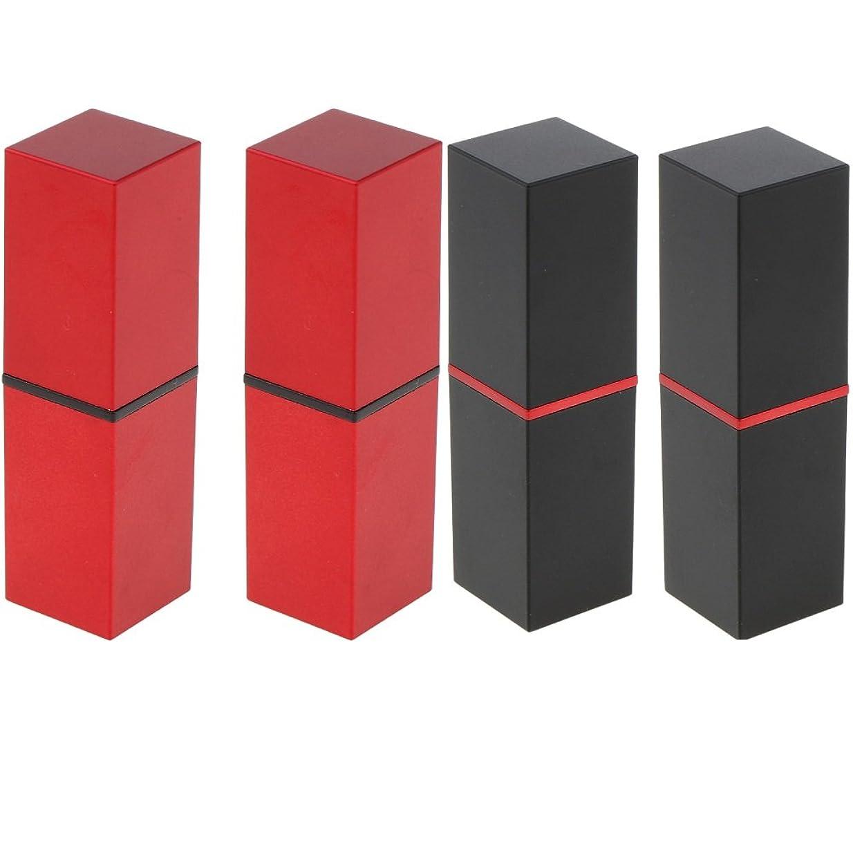 一月魅惑する扱うB Blesiya 4本 リップスティックチューブ 12.1MM口紅チューブ用 おしゃれ 赤+黒 メイクアップ