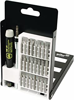 Wiha 75992 System 4 Precision Interchangeable Bit Set, Torx, Slotted, Phillips, Hex Inch, ESD Safe Precision Handle, 27 Piece In Compact Box