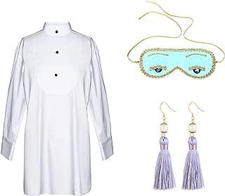Utopiat Audrey Style Sleep Shirt Eye Mask Earrings Set Women Inspired by BAT's