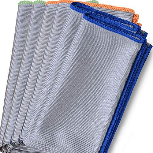Bear family Microfaser Fenstertuch, Poliertuch, Glastücher für streifenfreie Gläser, Fenster und Spiegel – Trockentuch für eine schlierenfreie Reinigung, 60x40cm, 350gsm(6 Stück)
