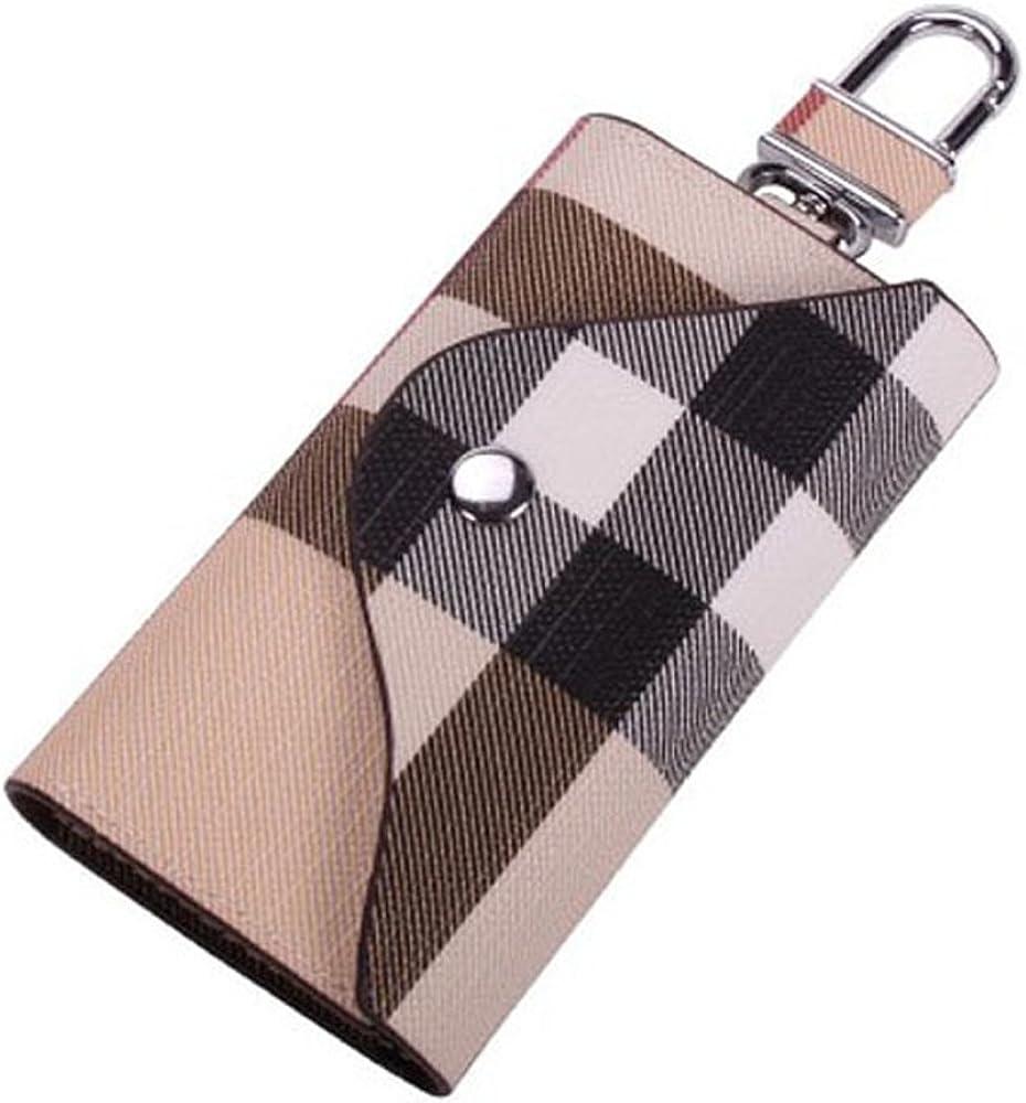 Women Leather Car Key Holder Bag, Men Keychain Case Wallet with 6 Loop Hooks Keyring Bag