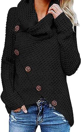 Jerseys De Punto para Mujer Cuello de Tortuga Manga Larga Suelto Prendas de Punto Suéter Irregular Jerséis Collar de la Pila Tops Cálido Otoño Invierno riou (White