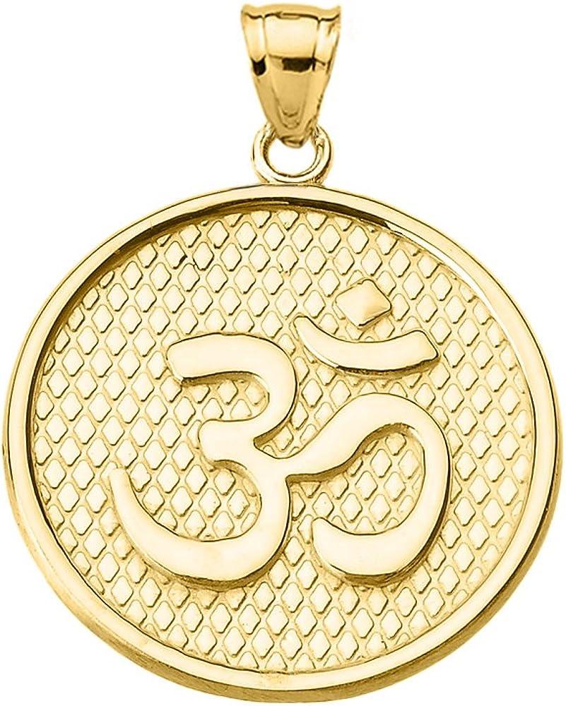 Hindu Yoga 10k Yellow Gold Om/Ohm Engravable Round Pendant Necklace