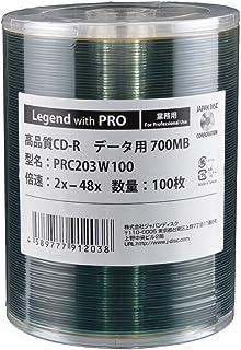 Legend with PRO CD-R /型番:PRC203W100/100枚バルク/ データ用 700MB/インクジェットタイプワイドホワイト/2~48倍速/