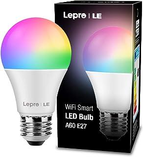 LE Lampadina LED RGBW E27 WiFi Alexa 9W, Lampadina Intelligente 16 Milioni Colori RGB + Bianco Regolabile 2700K-6500K, Sma...