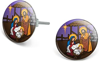 Nativity Scene Baby Jesus Mary Joseph Christmas Christian Bible Novelty Silver Plated Stud Earrings