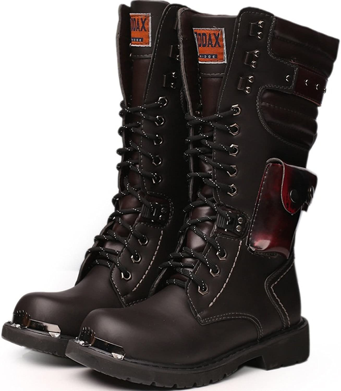 2018 NEW  Men's shoes Lace Up Rivet Detail Leather Upper Mid Calf Combat Boots For Gentlemen Run A Size Larger
