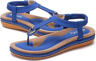 e207233b835b02 Gracosy Sandales Plates Femme, Chaussures de Ville Été en Cuir PU Tongs Nu  Pieds à