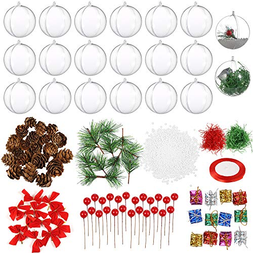 Auihiay 20 Pack 80mm Clear Christmas Ornaments Plastic Fillable Ornaments Balls for DIY Christmas Tree and Wedding Party Decorations