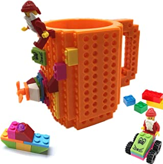 VANUODA Build-On Brick Mug, Building Blocks Coffee Cup, Block Buddy Mug, Unique Christmas Gift Present Idea, Compatible with Lego (Orange)