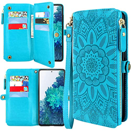 Harryshell [10 Card Slots] with [Block Theft Card Scanning] Function, PU Leather Flip Wallet Case Cover with Zipper Pocket Wrist Strap Kickstand for Samsung Galaxy S20 FE 5G (2020) (Floral Blue)