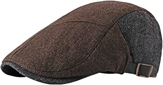 BESBOMIG Mens Plain Flat Cap Vintage Unique Beret Hat with Adjustable Strap Classic Hat Golf Driving Cap for Men Women 55-60cm