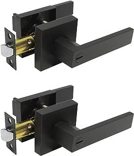 2 Pack Probrico Square Door Lever Privacy Door Lock Handleset Keyless Lockset Door Knobs Storage Room Bathroom Set No Key in Black DL01-BK-BK