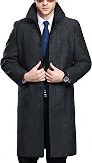 Sponsored Ad - FASHINTY Men`s Classical France Style Single Breasted Wool Coat Windbreaker #00153160