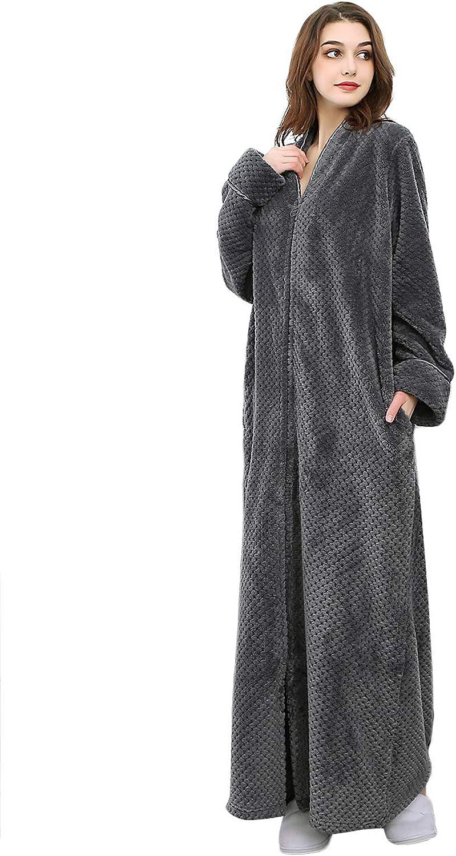 ICREAT Women's Zip Front Bathrobe Warm Housecoat Long Bathrobe