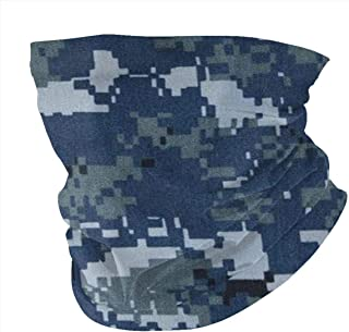 Lsjuee Protezione UV esterna traspirante ad asciugatura rapida senza cuciture Blu navy Digital Camo Head Wrap Face Foulard...
