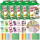 Fujifilm Instax Mini Instant Film (5 Pack, 100 Sheets) 10 Plastic Desk Frames + 20 Paper Frames Plus 60 Sticker Frames