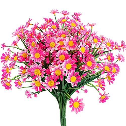 6 Bundles Artificial Daisy Mums Flowers Outdoor Fake Fall Flowers for Decoration No Fade Faux Plastic Autumn Flower Garden Porch Window Box Décor (Pink)