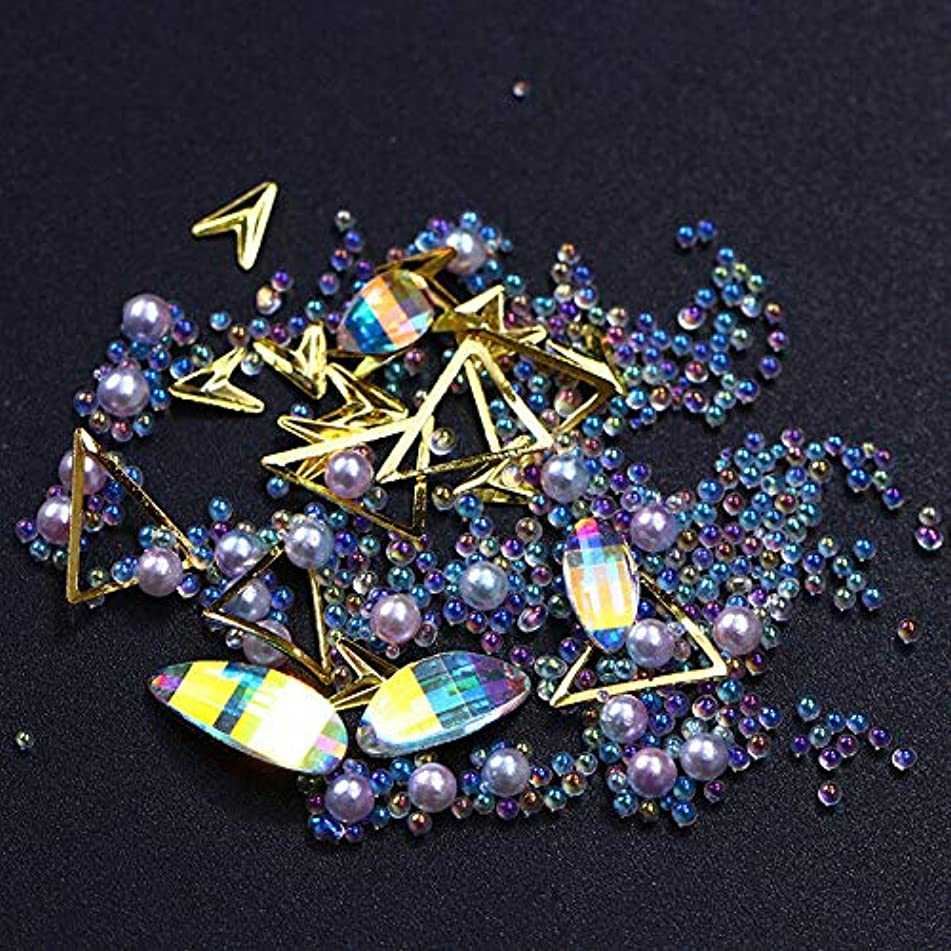 Nail Art Rhinestones 3D Mix Glitters Coloful Acrylic Manicure Studs Rivets Tips (Color - #6: AB Color)