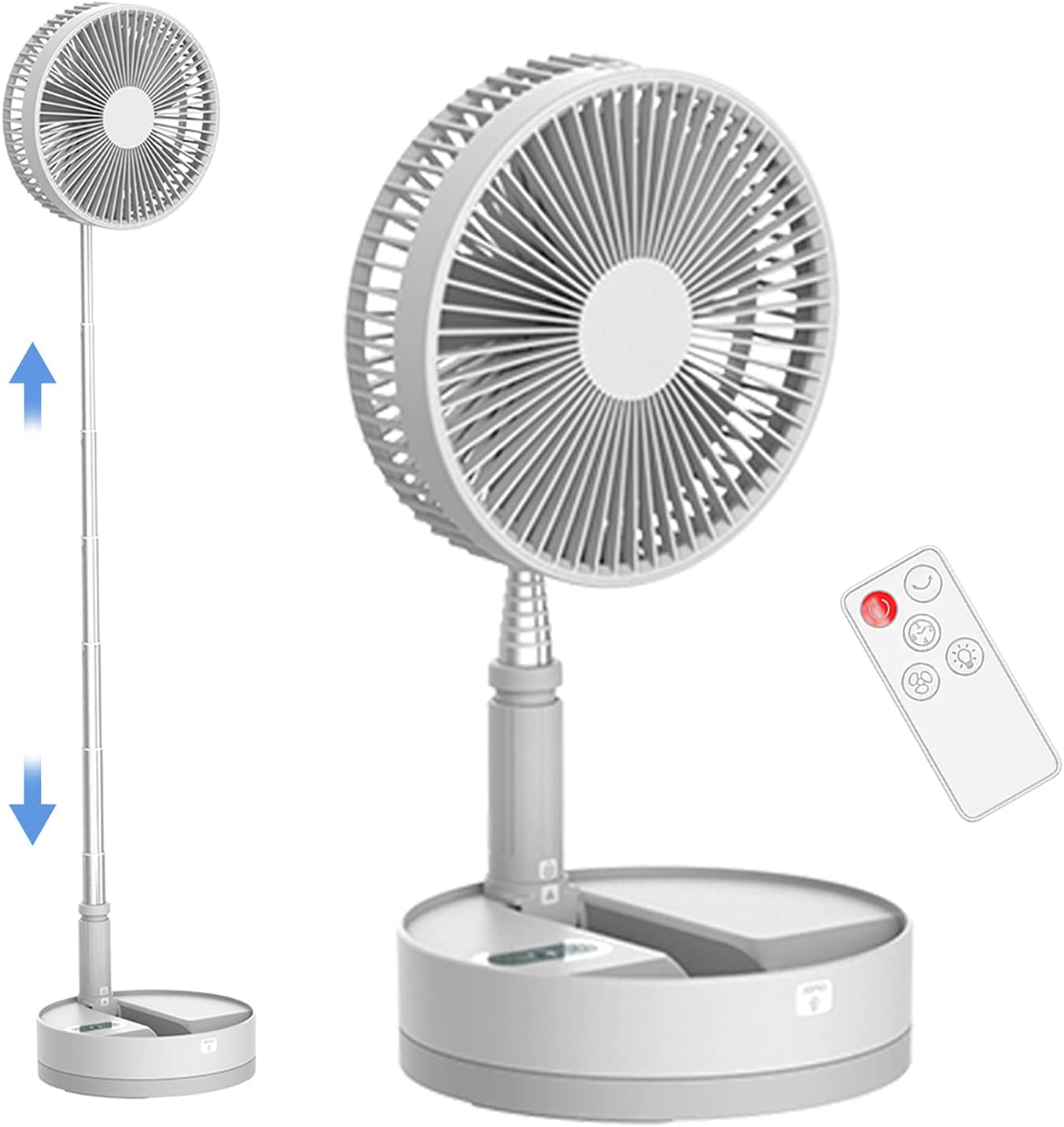 Upgrade Foldable Ultra Quiet Table Fan with LED Night light, Portable Rechargeable Automatic Oscillation Remote Control Fan with 10800mah 4-Speed Cooling Height Adjustment Silent Desktop Fan for Bedroom Office Camping