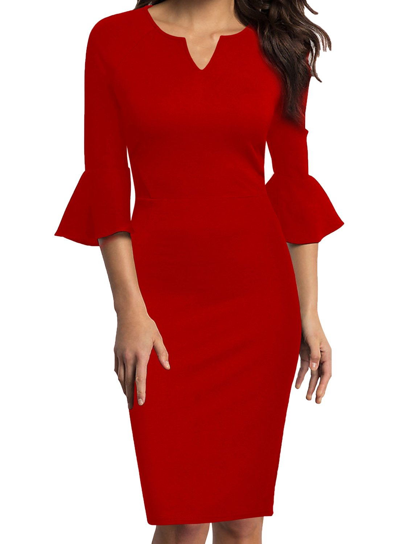 Red Dress - Women's Casual Crewneck Half Sleeve Summer Chiffon Tunic Dress
