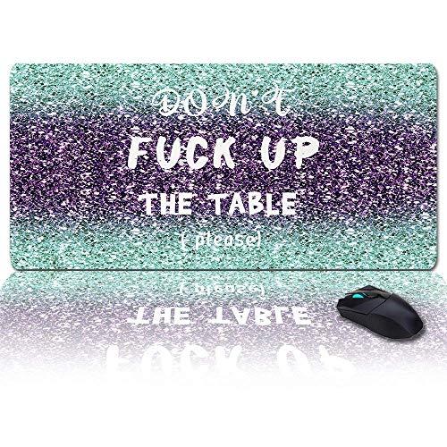 Extra großes, erweitertes Gaming-Mauspad, nicht den Tisch ficken (bitte), Mousepad mit Farbverlauf aus Marmor, lange, rutschfeste Gummibasis, XXL-Tastatur mit großer Tastatur für Desktop / Büro