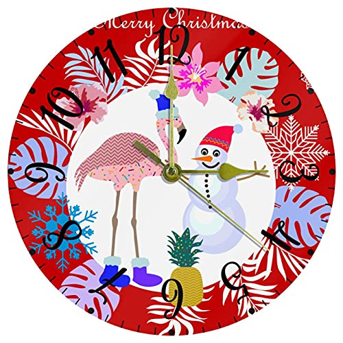 Reloj de Pared Decorativo Relojes de batería Navidad Flamenco muñeco de Nieve Hojas Reloj sin tictac para Cocina / salón 25cm