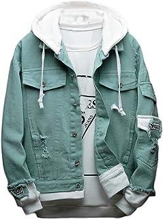 FSSE Mens Ripped Holes Fashion Hoodie Regular Fit Denim Jacket Coat Outerwear