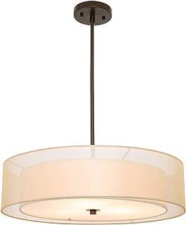 CO-Z 3 Light Double Drum Pendant Light, Antique Bronze Convertible Semi-Flush Mount Drum Ceiling Light Fixture for Kitchen Island Dining Table Bedroom Entry Bar, Modern Hanging Lights Chandelier
