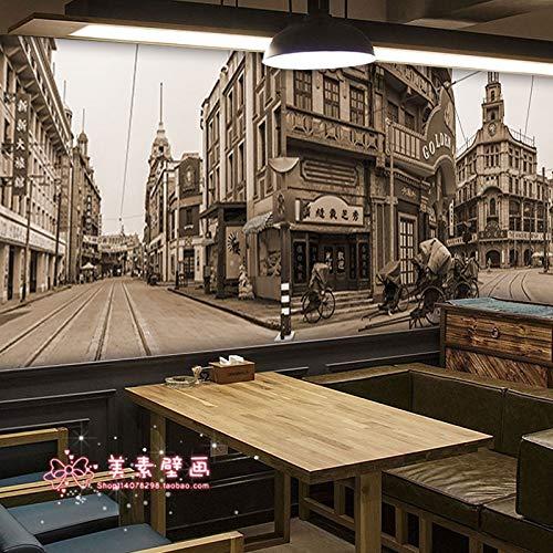 Nostalgische Shanghai Old Street Gebäude Wandbild Restaurant Cafe Milk Tea Shop Dekorative Tapete Hintergrund Tapete, 150cm×105cm