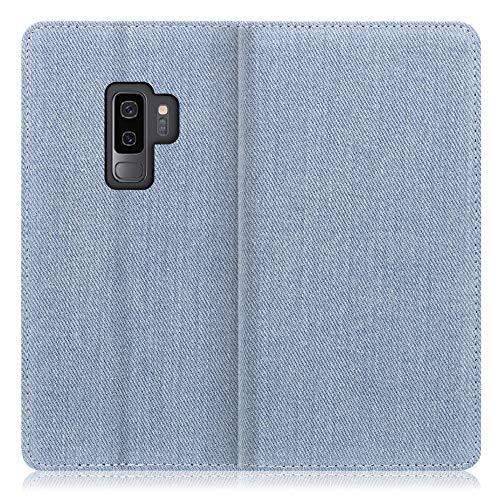LOOF Denim Galaxy S9+ / SC-03K / SCV39 ケース 手帳型 カバー スマホケース デニム生地 横入れ カード収納付 スタンド機能付 パス入れ 手帳型ケース 手帳型カバー ベルトなし おしゃれ シンプル ブランド (ライトブ