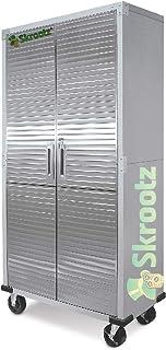 Metal Storage Cabinet 4 Shelves Rolling Tool Garage Warehouse Studio Shelving Stainless Steel Locking File Doors - House D...