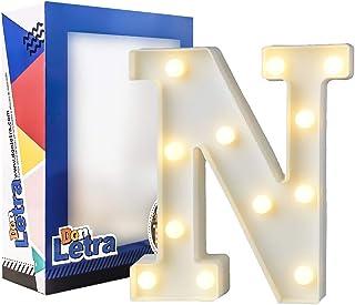 DON LETRA Letras Luminosas Decorativas con Luces LED, Letras del Alfabeto A-Z, Altura de 22cm, Color Blanco - Letra N