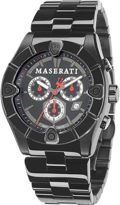 Orologio da polso da uomo, xl, cronografo al quarzo, in acciaio inox, r8873611001 maserati