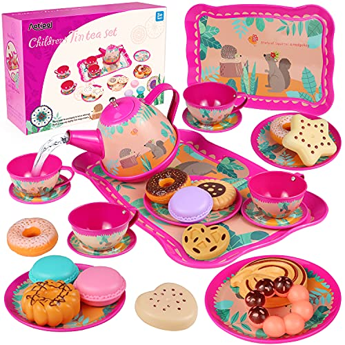 Teapot Set for Little Girls 26 Pcs Including Sweets - Cookies, Doughnuts, Macaroons, Princess Tea Party Set for Kids Toddlers Children, Kitchen Pretend Play Toys, Gift for Girls and Boys 3-8 Years old
