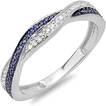 Dazzlingrock Collection 14K Gold Round White Diamond & Blue Sapphire Ladies Stackable Anniversary Wedding Band Swirl Ring