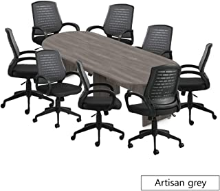 GOF 6FT, 8FT, 10FT Conference Table Chair (10902B) Set, Cherry, Espresso, Mahogany, Walnut (10ft with 8 Chairs, Artisan Grey)