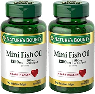 Fish Oil 1290 mg, Mini Odorless Softgels, 2 Bottles (90 Count)