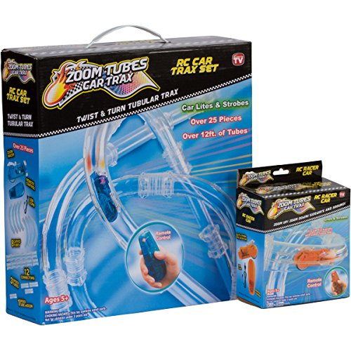Zoom Tubes RC Car Trax, Racing Bundle: 25-Pc Main Kit with 1 Blue Racer & Orange Racer (As Seen on TV)