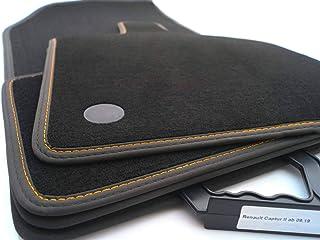 kh Teile Premium Fußmatten passend für Captur II (Schwarz, Orange) Velours Auto Matten Tuning Innen 4 teilig Doppelnaht