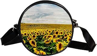 Summertime Runde Crossbody-Tasche mit Sonnenblumen-Motiv, Schultertasche für Kinder und Damen