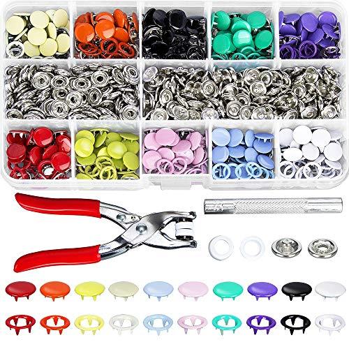 YHtech Duradero 200pcs Conjunto 9.5mm 10 Colores Metal de Punta Snap Button Ojales Sujetadores Kit con la presión de Mano Alicates Herramientas for Bricolaje Ropa Crafts Herramientas