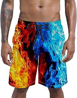 RAISEVERN Swim Trunks Summer Beach Shorts Pockets Boardshorts for Men with Mesh Lining
