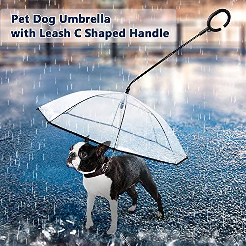 Weehey Paraguas para Mascotas con Correa C En Forma de manija de dirección retráctil Paraguas Transparente para Perros de Paseo Proteja a Las Mascotas en días de Lluvia