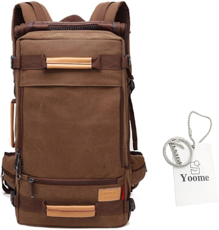 Yoome Travel Backpack for Men Canvas Multipurpose Rucksack 16 Inch Laptop Large Capacity Shoulder Bags Handbags Dayback College Hiking Camping Mountaineering Weekend Bag