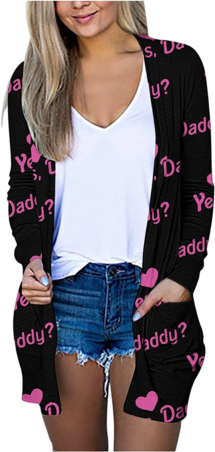 Womens Autumn Solid/Plaid Print V-Neck Lightweight Open Front Cardigan Long Sleeve Coat Pockets Outerwear